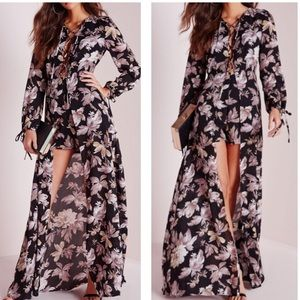 Misguided long sleeve lace up shorts maxi dress